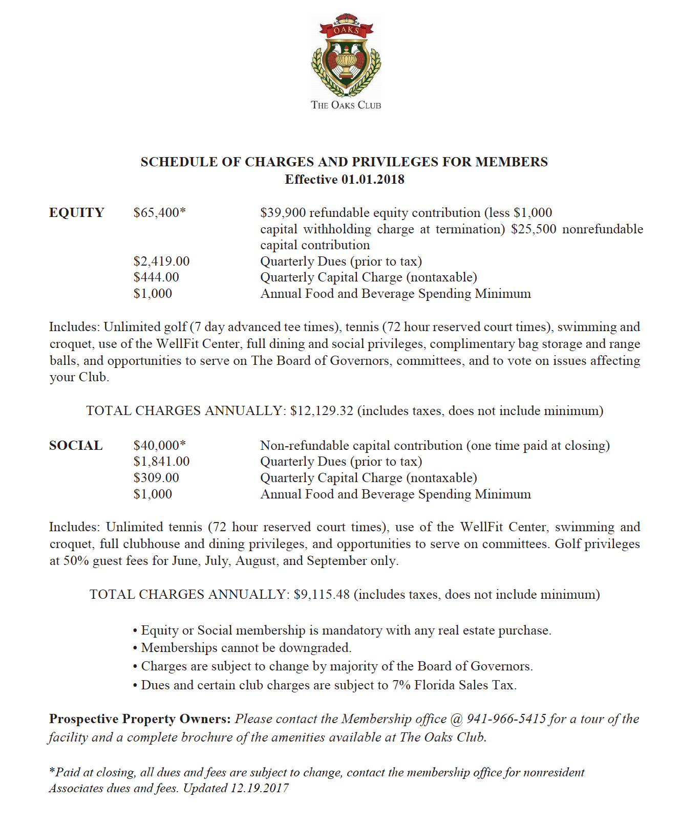 The Oaks Club Fees Schedule 2018