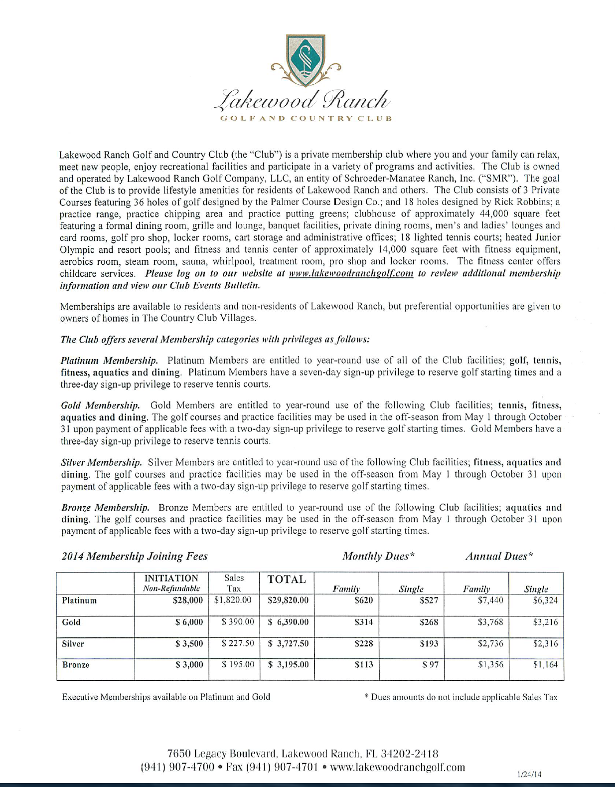 Lakewood Ranch Golf and Country Club Membership Fees Schedule for 2014 pg1