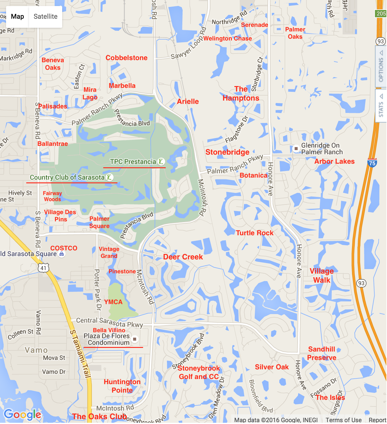 Map of Palmer Ranch Homes and Villas for Sale with SaraSellsSarasota.com